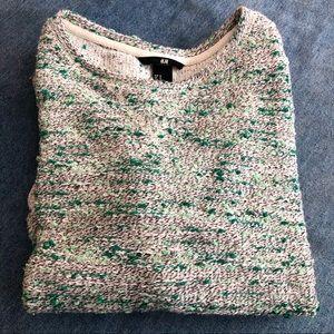 H&M Green & White Sweater 3/4 sleeves Medium